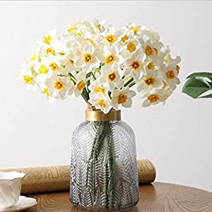 Lopeky 12pcs Artificial Daffodils Flowers White Lifelike Spring Flower Home Table Decor 16″