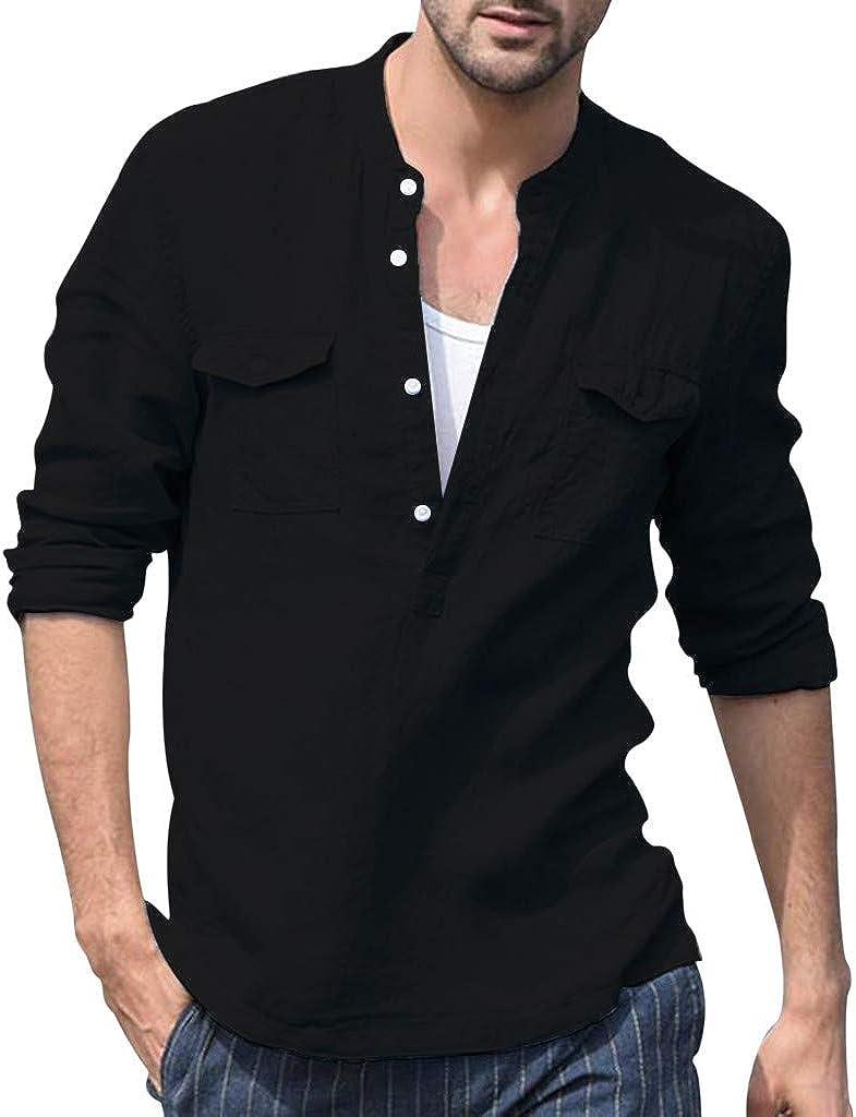 Mens Long Sleeve Henley Shirt Cotton Linen Beach Yoga Loose Fit Henleys Tops Button Up Shirts Summer Tops