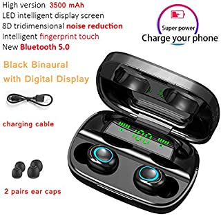 FairOnly S11 Blueteeth Earphone Wireless Sport Earbuds BT 5.0 Built in Microphone with 3500mAh Power Bank Black with digital display Electronics