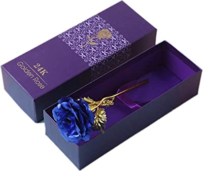 24K Eternal Gold Rose Foil Trim Rose Personalized Gifts for Her Valentine's Day Mother's Day Anniversary Wedding Home Decor (Color : Blue)