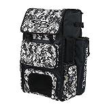 Boombah Superpack Bat Pack - Backpack Version (no Wheels) - Holds 4 Bats - Camo Black/Gray - for Baseball or Softball