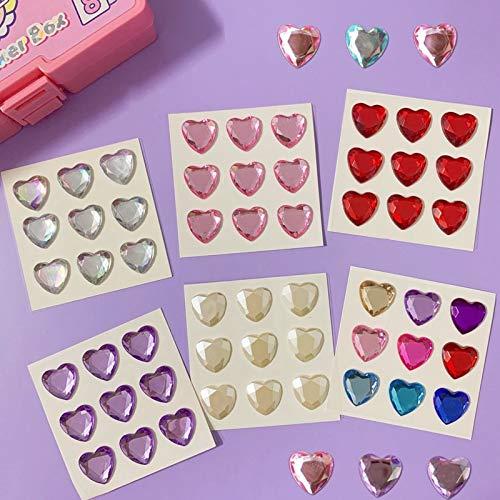 Korean INS Love Heart Stickers Acylic Sticker Mobile Phone Decorative Girl DIY Diary Album Stick Label Kawaii Stationery