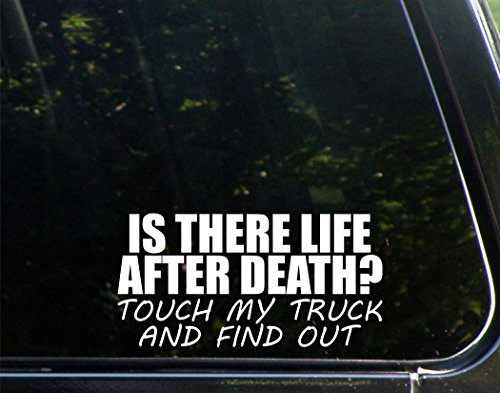 Sweet Tea Decals is There Life After Death? Touch My Truck and Find Out - 7 1/2' x 3 3/4' - Vinyl Die Cut Decal/Bumper Sticker for Windows, Trucks, Cars, Laptops, Macbooks, Etc.