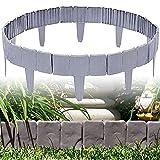ybaymy Valla de plástico para jardín, 30 unidades, color gris, efecto adoquinado, valla para césped, plantas, frontera decorativa, flores, árboles, hierbas, camas, para paisajismo, aceras, 24 pies