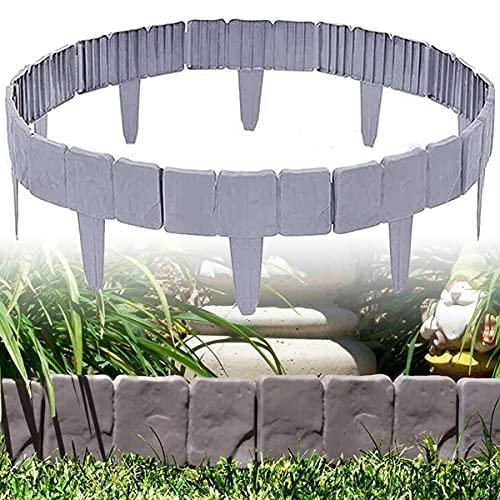 ybaymy 30 Stücke Rasenkante Beeteinfassung Kunststoff, Palisade Gartenpalisade Beeteinfassung, Grenze Pflanzendekoration für Rasen Blumenbeet (Grau)