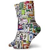 Novedad Funny Crew Sock English Letter Colorido impreso Sport Calcetines deportivos 30cm de largo Calcetines de tubo personalizados Calcetines de regalo