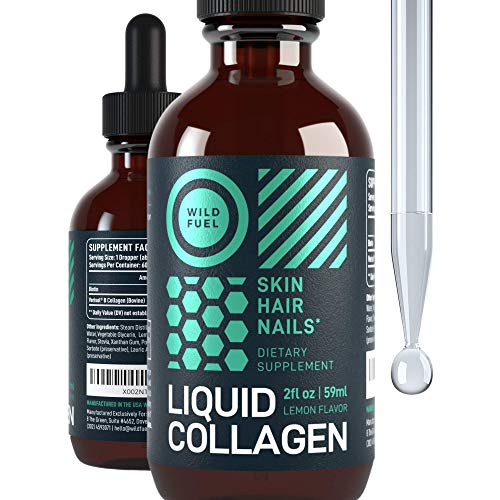 Liquid Collagen Peptides with Biotin - Wild Fuel Sublingual Support Drops - 10,000mcg Collagen, 5,000mcg Biotin - Youthful Skin, Hair Growth, Strong Nails and Bones, Flexible Joints - Lemon - 2 floz