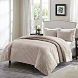 Comfort Spaces Kienna Quilt Set-Luxury Double Sided Stitching Design All Season, Lightweight, Coverlet Bedspread Bedding, Matching Shams, Full/Queen(90'x90'), Taupe