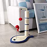 Emily Pets Fish Shaped Cat Scratching Tower with Toy Cat Handmade Cat Tree Interactive Premium Woven Sisal Carpet Scratching (Brown)