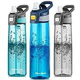 Newdora Botella de Agua Deportiva [750ml/24oz] con Pajita y Cepillo de Limpieza - Libre de BPA y Tapón a Prueba de Fugas para Excursionismo, Ciclismo, Running, Acampada, Gimnasio (Azul Oscuro)