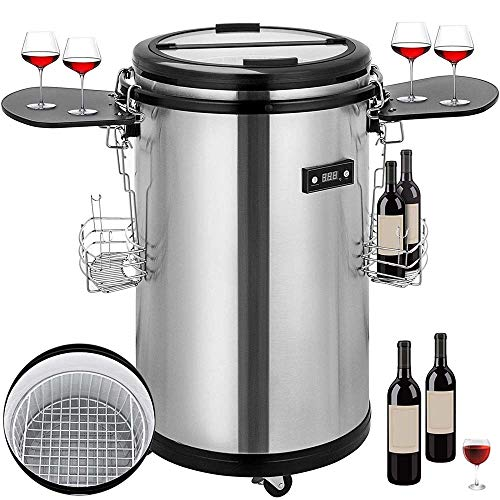 Atten Wine Cooler Beverage Refrigerator Stand-alone Chiller Portable High Capacity Red And White Wine Beer Champagne Cooler Stainless Steel Silent Operation 50L