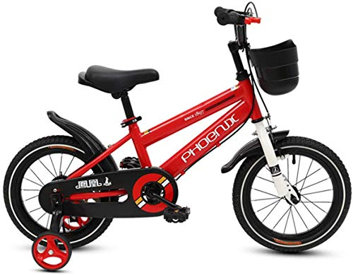PHOENIX Kids Bike Children Bicycle for Boys and Girls 14 16 18 inch with Stabilizers and Basket Red 18 inch