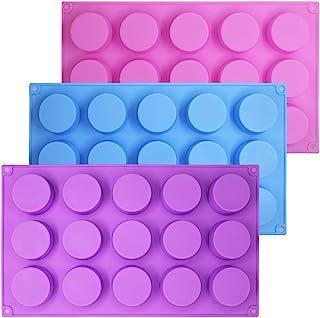 SENHAI Lot de 3 moules à 15 trous en silicone pour chocolat, bonbons, muffins, cupcakes, brownies, gâteaux, pudding - Viol...
