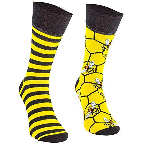 Comodo - lustige Bienen Socken Herren und Damen aus Baumwolle mit Muster|Bunte Motivsocken mit witzigem Motiv|ausgefallene farbige Freizeitsocken für Kinder und Erwachsene SM1 gr 43-46 3 Paar Biene