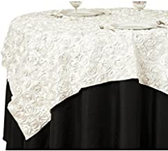 LinenTablecloth Rosette Satin Square Overlay Tablecloth, 85-Inch, Ivory