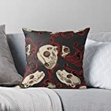 Animal Realism Gothic Semi Skulls Skull Animals Tattoo Filigree - Modern Decorative & LightweightSoft Cotton Polyester Throw Pillow Cases for Bedroom/Living Room/Sofa Chair & Car