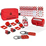 TRADESAFE Electrical Lockout Tagout Kit - Hasps, Clamp on and Universal Multipole Circuit Breaker Lockouts, Loto Tags, Plug Lockout, Safety Padlocks Set (1 Key Per Lock) for Lock Out Tag Out Stations