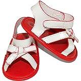 MINIBANDA Zapatos sandalia para recién nacidos, blanco/rojo, M963 Blanco Size: 17 EU