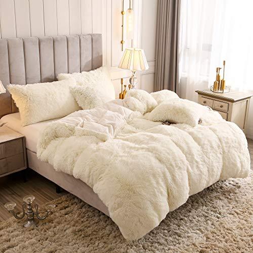 Uhamho Solid Fluffy 1PC Faux Fur Plush Duvet Cover Luxury Shaggy Velvet Bedspread Zipper Closure (Light Beige, King)
