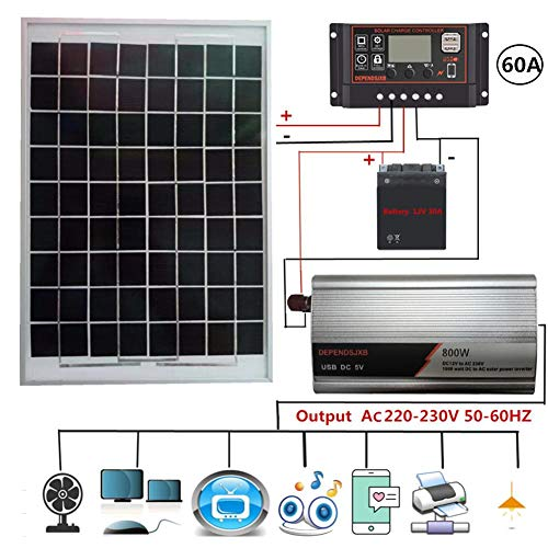 feiledi Trade 800 Watt 230 V polykristallines Solarmodul-Kit, 20 W polykristallines Solarmodul + 40/50/60 A LCD-Solarladeregler + 800 W Verpolungsschutz-Wechselrichter + Batterieklemmen