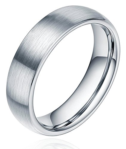 Anello in titanio spazzolato, fede nuziale per uomo e donna, 6 mm, modello confortevole, misura J-Z4., titanio, 31, cod. TTR1006S-Z2