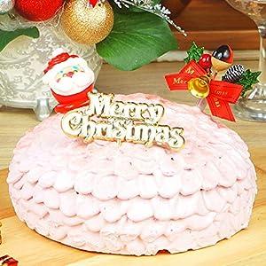 【予約注文】TABeRUN たべるン クリスマスケーキ 2020 ピンクのドームケーキ クリスマス プレート 柊 サンタ 冷凍 ホールケーキ 5号