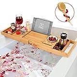 bathtub tray, finate wooden bathtub tray with extendable sizes, adjustable, non-slip & durable,