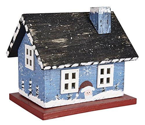 LED Holzhaus Weihnachtshaus Granny Haus Blau Teelicht Batteriebetrieb ca. 12 x 14 x 10,5 cm (HxBxT)