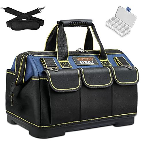AIRAJ Bolsa de herramientas de 35,5 cm para hombres, bolsa de herramientas impermeable con base moldeada de ABS, bolsas de herramientas con correa ajustable para el hombro para electricistas, carpinteros, reparadores de coches, fontaneros y propietarios de casa