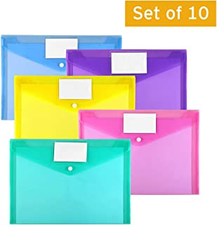 Plastic Envelopes Poly Envelopes, Sooez 10 Pack Clear Document Folders US Letter A4 Size File Envelopes with Label Pocket & Snap Button for School Home Work Office Organization, Assorted Color