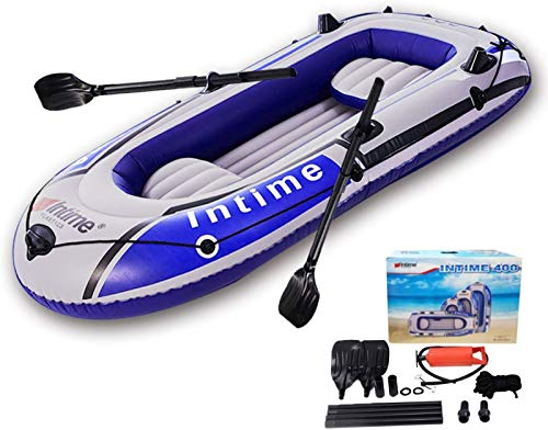 4 Person Inflatable Boat Canoe BlueGray9FT Raft Inflatable Kayak with Air Pump Rope Paddle 2 3 or 4 Person Boat for Adults and Kids Portable Fishing Boat