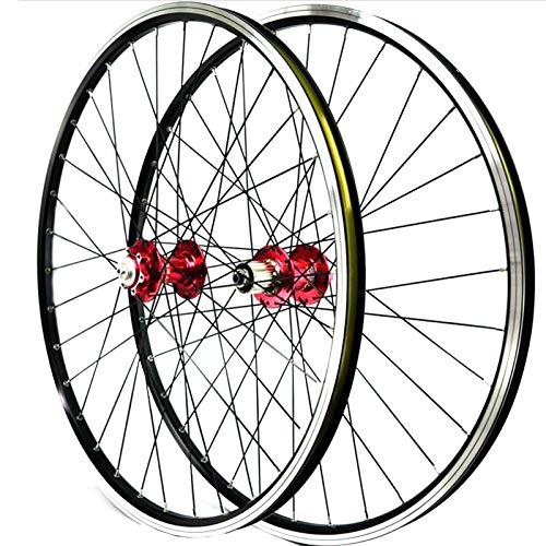 ZNND Juego De 26 Pulgadas De Ruedas De Bicicletas MTB Aleación Llanta Doble Pared 7-11 Velocidad Teniendo 3 Trinquetes Liberación Rápida (Color : Red)