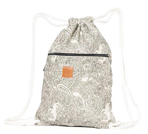 T-BAGS Thailand Baumwoll Turnbeutel Hipster - mit Reißverschluss - 24 Designs – Hochwertiger Beutel, Rucksack, Gym-Bag mit verstellbaren Kordeln (Fantasy)