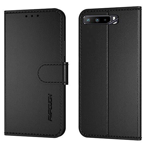 FMPCUON Handyhülle Kompatibel mit Asus ROG Phone 3 ZS661KS(6,59 Zoll)(Neueste),Premium Leder Flip Schutzhülle Tasche Hülle Brieftasche Etui Hülle für ROG Phone 3 ZS661KS,Schwarz