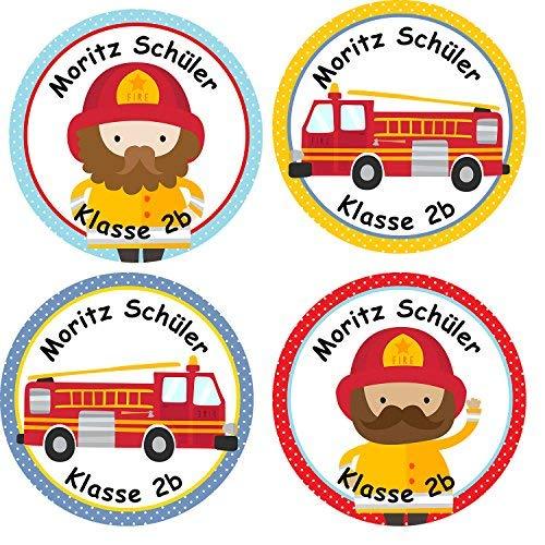 Papierdrachen 24 individuelle Aufkleber für Kinder - Motiv Feuerwehr - personalisierte Sticker - Schule Einschulung