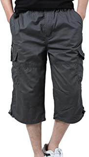 Alangbudu Mens Cargo Short Relaxed Fit Multi-Pocket Outdoor Athletic Durable Big /&Tall Jammer Hiker Sportwear Elastic Waist