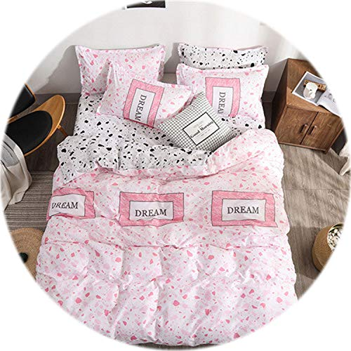Memoirs- Heart Printing Bedding Set 3/4pcs Bed linens Home Textile Duvet Cover Set Classic Bedclothes Modern Sheet Pillowcase King bedset,City Lover Pink,Twin is 3pcs,Flat Sheet