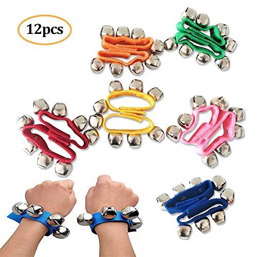 12Pcs Handgelenk Glocken, Jingle Bells Musikalisches Rhythmus-Spielzeug Knöchelglocken Orchester-Rasseln Einstellbare Armband Handgelenk Tamburine für Kinder Spielzeug Schlaginstrumente
