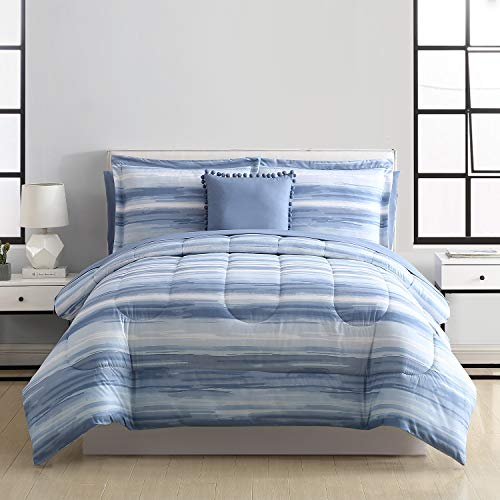 HowPlum 8-Piece Striped Watercolor Plush Overfilled Full/Queen Comforter and Deep Pocket Sheet Bedding Set, Blue White