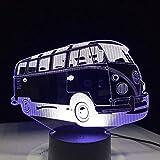 Boutiquespace 3D Luz de Noche 3D Camping Bus Acrílico Lámpara de Mesa 7 Variantes de Color LED Luz de Noche USB Niños Dormir Iluminación Bebé Cumpleaños Año Nuevo Regalo