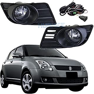 Bumper Driving Fog Lights Complete Kit Fog Lamp for Suzuki Swift 2007 2008 2009 2010 Direct Replacement Aftermarket Lights/1Pair w/Halogen Bulbs :H11-12V-55W HUAHEE_AP0353