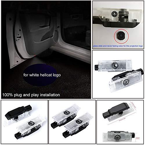 2x Car LED Puddle Projector Ghost Laser logo light For Dodge Challenger SRT Hellcat Demon white color with no fading color glass slides