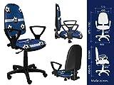 La mejor silla de escritorio para niños, silla de oficina para niños, silla giratoria Formula1 F1 Motor Princesa Niña Fútbol (BRED Futbol Azul)