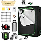 VIVOSUN Grow Tent Complete System, 4x2 Ft. Grow Tent Kit Complete with 4 Inch Inline Fan Package, VS2000 LED Grow Light, Temperature Humidity Monitor, Netting, Grow Bags, Pruning Shear and Timer