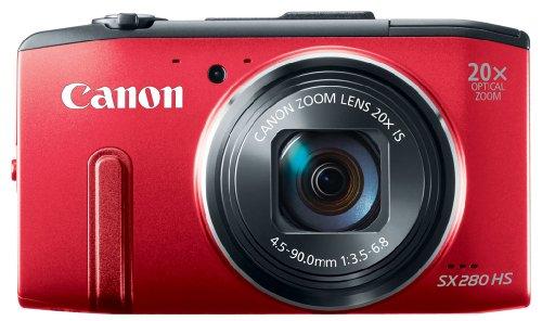 Canon PowerShot SX 280 HS Digitalkamera (12 MP, 20-Fach Opt. Zoom, 7,6cm (3 Zoll) LCD-Display, bildstabilisiert) rot