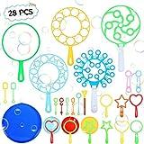 Winload 28 Piezas Pompas de Jabón para Niños, Burbuja Varitas Burbujas de Jabón Kit, Exteriores Juguetes para Niños y Niñas para Fiestas de Cumpleaños y Juego, Color Aleatorio, Edad 3+