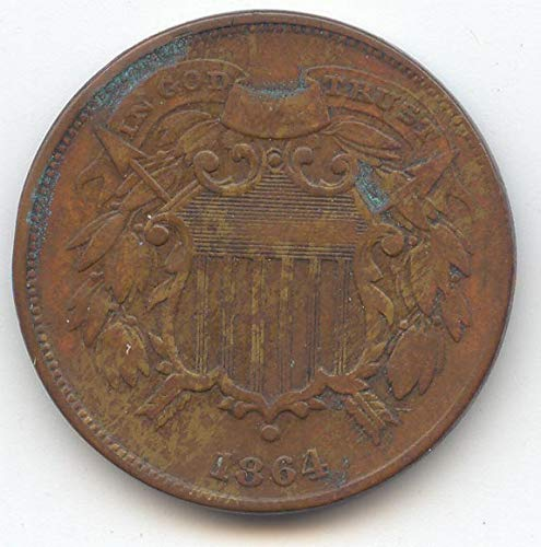 1864 Two Cent Small Motto Piece Choice Very Fine Details