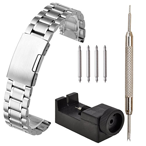 Jsdde, cinturino in acciaio massiccio color argento per orologio da uomo, con fibbia deployante, con barretta a molla per fissaggio alle anse e strumento per il montaggio, larghezza 20mm