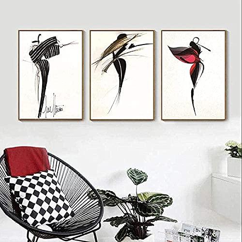 LangGe Impresiones para Paredes 3 Piezas 50x70cm sin Marco Retro nostálgico Bailarina imágenes de Belleza Simple Sala de Estar Moderna decoración nórdica póster para el hogar