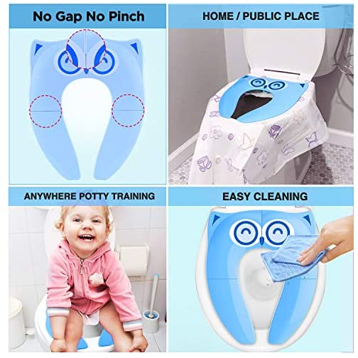 Gimars Upgrade Stable Folding Travel Portable Potty Training Seat Fits Most Toilets, No Falling in with 6 Large Non-slip… 5
